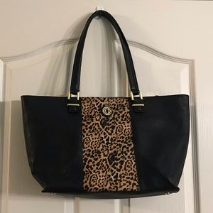 Kate Landry black tote with leopard print.